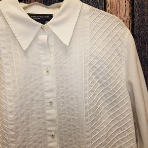 Textured White Button Front Top